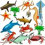 6 TLG. Set -  Fische - Meerestiere - Unterwasser Tier  - Spielfiguren - Spielzeug Tiere - Kunststoff / Weichgummi - Schwimmen im Wasser - z.B. Qualle - DELF..