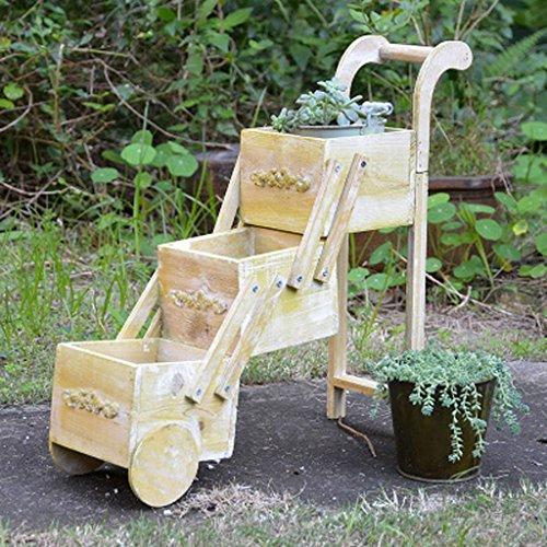 MEILING Crème Rurale Américaine Couleur En Bois Massif Mini Fleur Stand Petit Panier Balcon Woody Succulentes Pot De Fleur De Bureau Boîte De Rangement