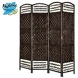 Hogar y Mas Biombo Separador de Ambientes Country de 4 Paneles, Bambú Natural/Color Chocolate, para Dormitorio y Salon. 170x160 cm.