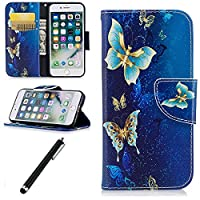 iPhone 7 Flip Leather Case,Beddouuk Wallet Case with Stand for iPhone 7,[Blue Butterfly] Pattern Design PU Leather Protection Backcover Case Cover With Credit Card Holder Slot Shockproof Feature For iPhone 7 (4.7