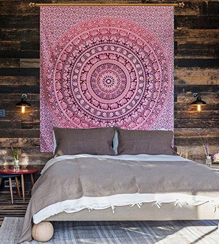 Tapicería hecha a mano, Decoración de Dormitorio Colgante de Pared Alfombra India Hippie Psicodélica, tapiz rosado de elefante de chakra rosa, Tapiz de Elefante Celestial,