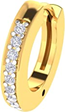 Hansika Jewels 1/10 Ct Sim.Diamond 14K Yellow Gold Fn Round Style Nose Pin Body Piercing Jewelry