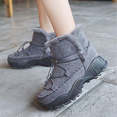 HSXZ Scarpe donna Cashmere Winter Snow Boots stivali Chunky tallone punta tonda Mid-Calf scarponi per Casual Grigio Nero Marrone Gray