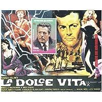 La Dolce Vita di menta e smontato foglio di francobolli souvenir con 1 timbro con Marcello Mastroianni / 1998 / Senegal / 2000 f