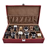 THE RUNNER PU Leather Red Colour Textured Finish Watch Box for 12 Watches