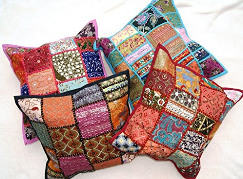 Set von 4Kantha Kissenbezug Sofa-Set, Baumwolle handgefertigt Patch Home Decor Sofa Kissen Fall Vintage Style aakriti Galerie (41x 41cm) (Stuhl Kantha)