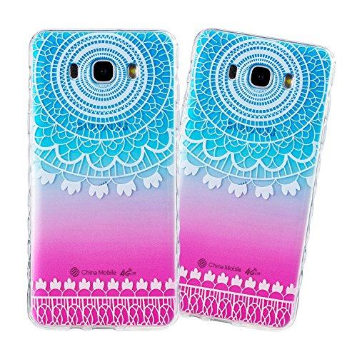 Samsung J710 Hülle, E-Lush TPU Soft Silikon Tasche Transparent Schale Clear Klar Hanytasche für Samsung Galaxy J710(2016) (5,5 zoll) Durchsichtig Rückschale Ultra Slim Thin Dünne Schutzhülle Weiche Fl Indische Sonne