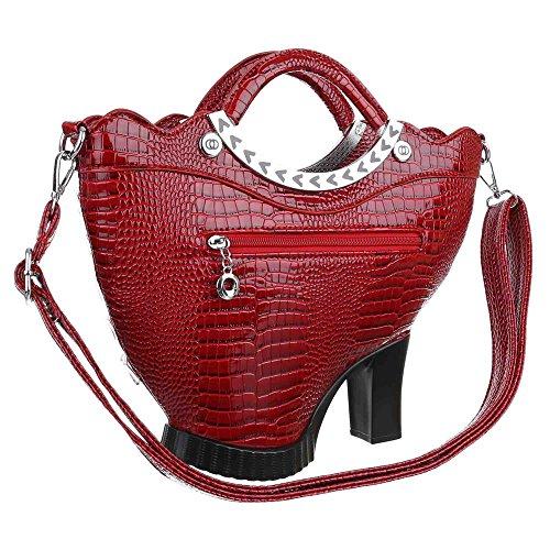 iTal-dEsiGn Damentasche Mittelgroße Handtasche Schultertasche Mit Perlen Deko Kunstleder TA-X-201501 Rot