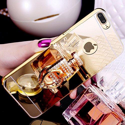 Cover iPhone 7 / 8 Plus - Custodia Specchio in Silicone TPU - Surakey iPhone 7 Plus Custodia Glitter Sparkles Bling Bling Diamante con Rotazione Grip Ring Kickstand Disegno Della Ragazza di Dancing Ul Oro Profumo
