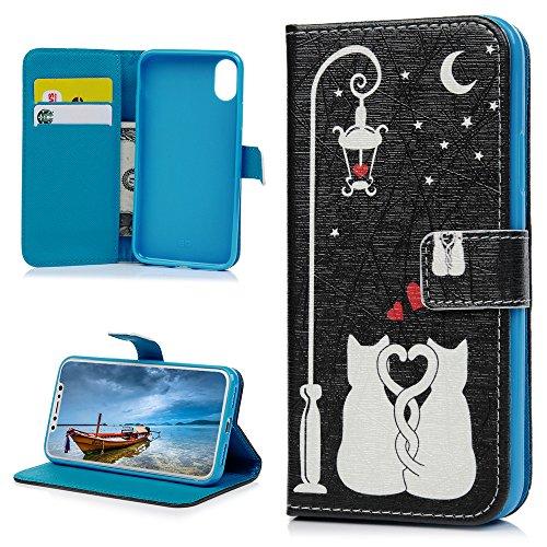 MAXFE.CO Schutzhülle Tasche Case für iPhone X PU Leder Flip Tasche Cover Gemalt Muster im Ständer Book Case / Kartenfach Baum Katze 2