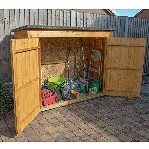 Forest Plus Dip Treated Large Overlap Pent Outdoor Store, Natural, 7 x 3 ft Best Price and Cheapest