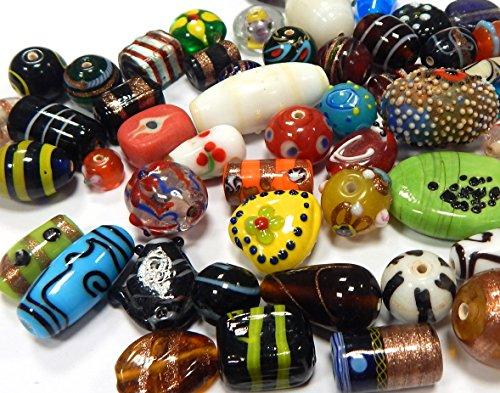 1 Kilo Glasperlen Mix Indian Posten Glas Perlen Set Silberfolien Lampwork Fancy Beads Konvolut Bunt Perlenset Bastelset Schmuckherstellung von Halsketten Armband DIY Basteln (1000)