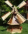 BTV W1MS100OS Holzwindmühle,Windmühlen, 1 m groß mit/ohne Solarbeleuchtung HOLZSCHINDEL aus massiv Holz Massivholz Vollholz für Holz und Terrasse Terasse Stein große Holzwindmühle,Windmühlen,