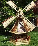 Windmühle, mit Holzschindel - Dach ,Windmühlen, 1,2 m groß hellbraun braun hell + natur mit / ohne Solarbeleuchtung HOLZSCHINDEL aus Massivholz für Garten und Terrasse