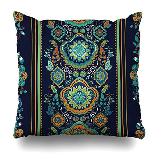 ZiJface Throw Pillows Covers Color Border Dark Blue Striped Floral Pattern Paisley Able Home Decor Pillowcase Square Size 18 x 18 Inches Cushion Case Paisley Border Print Dress