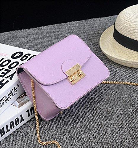 YANX Fashion PU signora piccola festa catena borsa borsa delle signore Borsa a tracolla Tote (13 * 17 * 8 cm) , white Purple