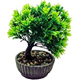 Artificial Plant With Pot By Random® With Green Leaves  Oval Earthy Brown Ceramic Pot With Real Pebbles
