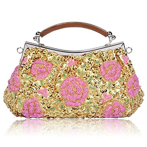 YYW Vintage Clutch Bag, Poschette giorno donna gold3