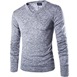 INFLATION Herren Basic Pullover Fleece Gestreift Strickpullover Langarm Freizeit Sweatshirt V-ausschnitt Pulli, Hellgrau, Gr.L