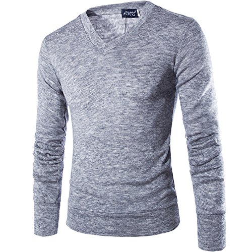 INFLATION Herren Basic Pullover Fleece Gestreift Strickpullover Langarm Freizeit Sweatshirt V-ausschnitt Pulli, 7 Farben, Gr. XXS-M Hell Grau