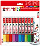 Marabu 0125000000084 - Porcelain und Glas Painter Kids Set Mega Fun, Porzellanmalstifte für Kinder 10er Set, spülmaschinenfest nach Einbrennen, Universalspitze 1 - 3 mm