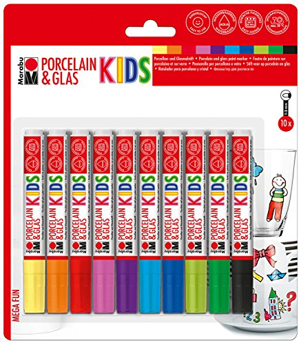 Marabu 0125000000084 - Porcelain und Glas Painter Kids Set Mega Fun, Porzellanmalstifte für Kinder 10er Set, spülmaschinenfest nach Einbrennen, Universalspitze 1-3 mm (Farben Die Keramik Für)