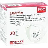 GIMA Mascherina Filtrante FFP2 Effective, 6 Strati, Ergonomica, Pieghevole, Antipolvere, Elastici Flessibili ed Estensibili,