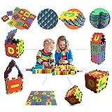 [PUZZLEMATTE FÜR KINDER] Baby spielmatte - Kinderspielteppich 36tlg - 12x12cm Puzzleteilen - Schaufstoffmatte Zahlen und Buchstaben - Krabbeldecke mit abnehmbaren Ränder - GadgetQounts