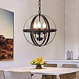 Depuley Globe Lustre Suspension Industriel Métal Noir, Plafonnier Vintage E14 Salle à manger, Ø32cm et Applicable pour Restau