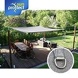sunprotect 83228 Professional Sonnensegel, 3,5 x 4,5 m, rechteckig, wind- & wasserdurchlässig, grausilber