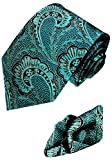 Lorenzo Cana - Set aus 100% Seide - Tuerkise Krawatte mit Einstecktuch Paisley - petrol Seidenkrawatte mit Tuch 8442701