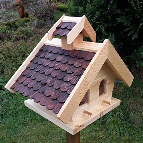Vogelhaus-XL D Braun- Vogelhäuser-Vogelfutterhaus Vogelhäuschen-aus Holz Wetterschutz Putzklappe