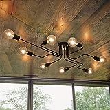 OYIPRO Plafonnier Industriel, 8-Lumières Lampe Plafond, Noir Luminaire Plafonnier E27 Base, pour Salon Chambre Cuisine (Sans