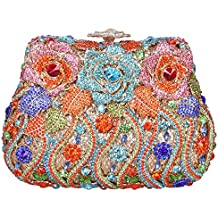Bonjanvye Delicate Studded Rose Clutch Bag Crystal Evening Bags for Girls