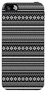 Snoogg Black And White Aztec Case Cover For Apple Iphone 4/4S