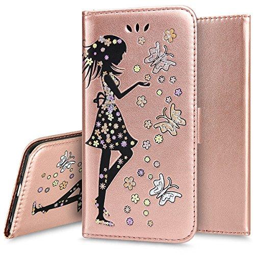 d2f5224c6b2 Custodia Cover per iPhone 6/6S plus, Ukayfe Luxury Puro Colore Glitter  Modello Goffratura Fiore Farfalla ...