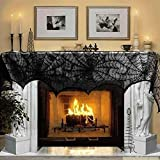 Marry Acting 18 x 96 inch Cobweb Fireplace Scarf Mysterious Lace SpiderWeb Mantle Lace Runner Fireplace Scarf Festive Supplies for Halloween Valentine's Day Party Door Window Decoration Black