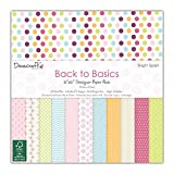 Dovecraft, carta da regalo Back to Basics della collezione Bright Spark, 30 cm x 30 cm (12 design FSC), 12x12 Paper Pack