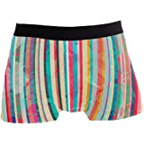 JIRT Pantaloncini da Uomo Blot Effetto Righe Colorate Motivo Intimo Maschile Tronchi Elasticizzati Traspiranti Sacchetto rigo