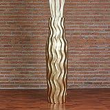 Leewadee Große Bodenvase 112 cm, Mangoholz, Goldfarben