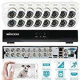 KKMOON 16ch Kanal voll 960H/D1 800TVL CCTV Surveillance DVR Security System P2P Cloud Onvif Netzwerk Digitalrekorder + 16 * Innenkamera + 16 * 60ft Kabel¡