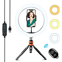 WOWGO ring light with tripod, 10 inch LED selfie ring light, table ring light with remote release 3 ...