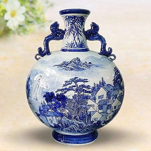 Blau und Weiß Porzellan Deko Vase Binaural 21,6x 31,8cm Höhe mit Drehen Holz Boden & Brokat-Box, porzellan, Blue and White 02, 17