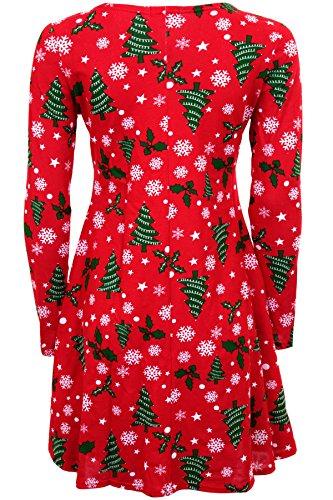 Fantasia Boutique - Robe - Femme * taille unique imprimé 10 (Rouge ARBRE NEIGE )