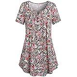 VEMOW Sommer Frauen Damen Mädchen Plus Size Rundhalsausschnitt Knopf-up Geraffte Beiläufige Partei Tanz Bluse Kurzarm Tunika Tops Shirt Pulli(Rot 2, EU-46/CN-XL)