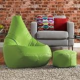 Hi-BagZ - Juego de puf y reposapiés a juego, 100% cuidado fácil, color verde lima