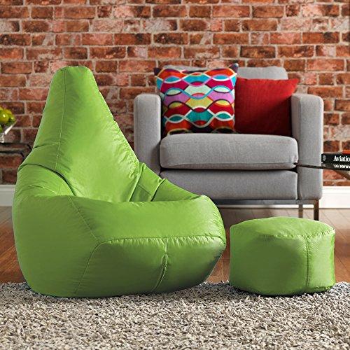 Hi-BagZ Sitzsack- & Fußhocker-Set, kerngefüllt, pflegeleicht, hohe Rückenlehne, violett