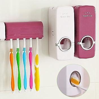 Fenrad® Vino Rosso Distributore Dentifricio Automatico Creativo Bagno Auto Toothpaste Dispenser Mani Libere con Porta spazzolino(5 posti)--Wine Red