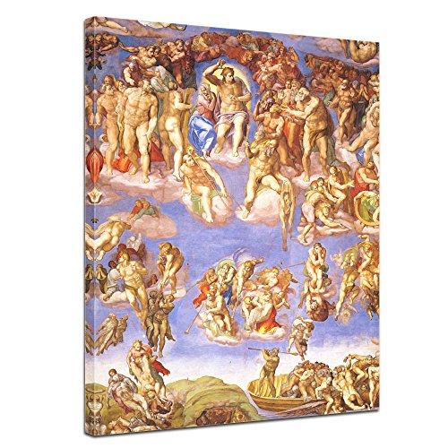 Wandbild Michelangelo Jüngstes Gericht II - 50x70cm hochkant - Alte Meister Berühmte Gemälde Leinwandbild Kunstdruck Bild auf Leinwand - Gerichte