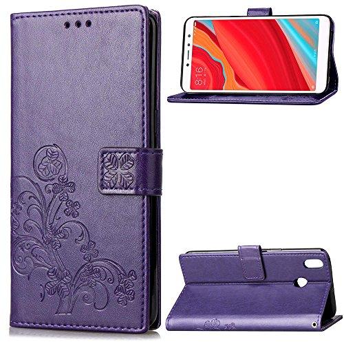 Funda Xiaomi Redmi S2, LAGUI Los Adornos Bien Definidos y Grabados Carcasa Tipo Libro, de ranuras para tarjetas y soporte horizontal y solapa con cierre magnético, púrpura